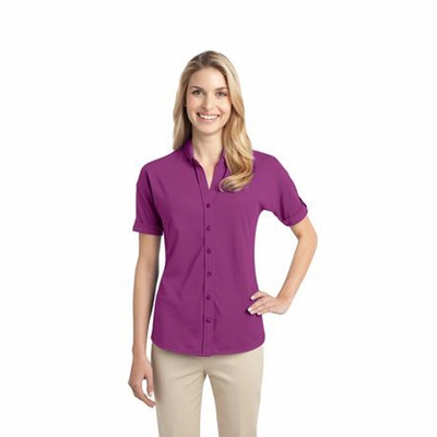 Port Authority Women's Polo Shirt: Stretch Pique Button-Front