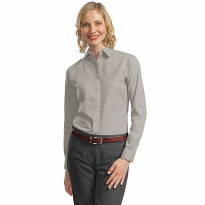Port Authority Women's Poplin Shirt: Long Sleeve Value (L632)