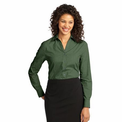 Port Authority Women's Woven Shirt: Crosshatch Easy Care Wrinkle Resistant (L640)