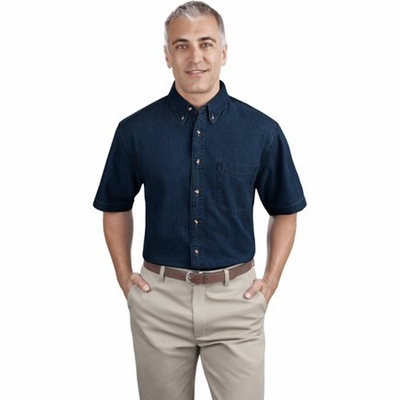 Port & Company Men's Denim Shirt: 100% Cotton Short Sleeve Value (SP11)