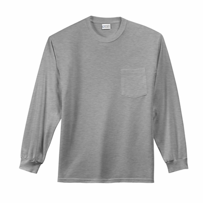 Port & Company Men's Long Sleeve Essential T-Shirt with Pocket: (PC61LSPT)