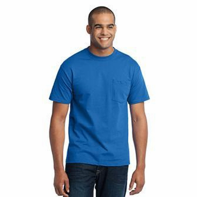 Port & Company Mens T-Shirt: 50/50 Crewneck w/ Pocket(PC55P)