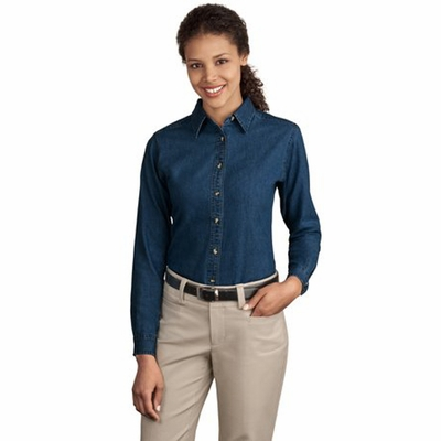 Port & Company Women's Denim Shirt: 100% Cotton Long Sleeve Value (LSP10)