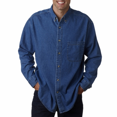 UltraClub Men's Denim Shirt: 100% Cotton Tall Long-Sleeve Cypress Pocket (8960T)