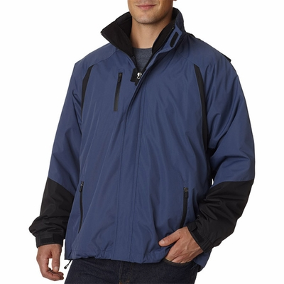 UltraClub Men's Jacket: 3-in-1 Weather Resistant Colorblock (8939)