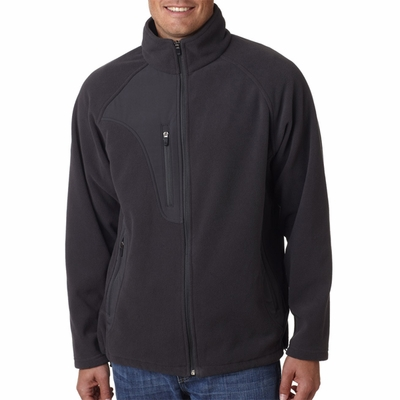UltraClub Men's Jacket: Full Zip Microfleece w/ Chest Pocket (8495)