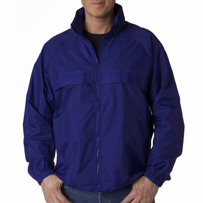 UltraClub Men's Jacket: Hooded Zip-Front Pack-Away (8929)
