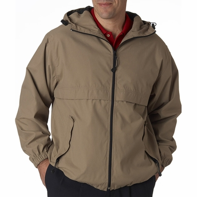 UltraClub Men's Jacket: Microfiber Hooded Zip-Front (8908)