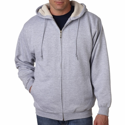 UltraClub Men's Jacket: Sherpa-Lined Full-Zip Fleece Hood (8450)