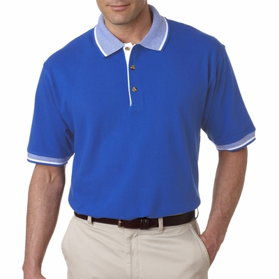 UltraClub Men's Polo Shirt: 100% Cotton Color-Body Classic Pique Contrasting Multi-Stripe Trim (8537)