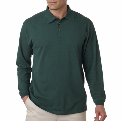 UltraClub Men's Polo Shirt: 100% Cotton Long-Sleeve Classic Pique (8532)