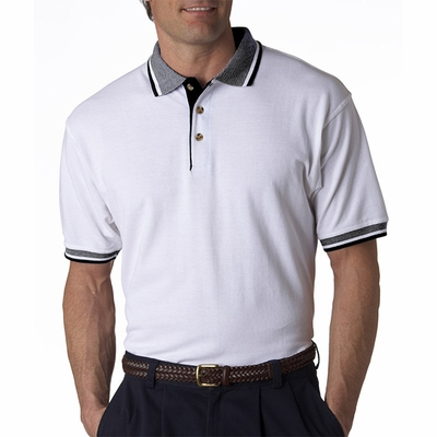 Adult White-Body Classic Piqué Polo with Contrast Multi-Stripe Trim: (8536)