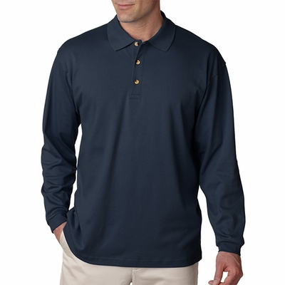 UltraClub Men's Polo Shirt: 100% Egyptian Cotton Interlock Long-Sleeve (8501)