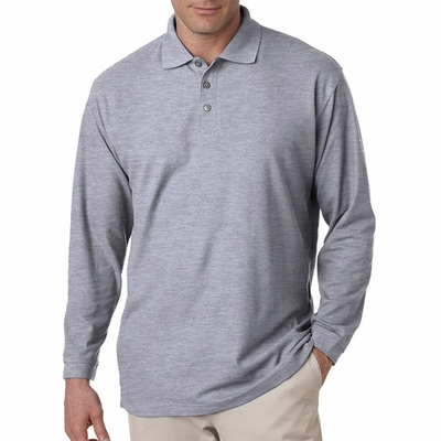 UltraClub Men's Polo Shirt: Long-Sleeve Whisper Pique (8542)
