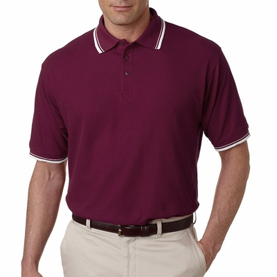 UltraClub Men's Polo Shirt: Short-Sleeve Whisper Pique with Rib Collar & Cuff Tipping (8545)