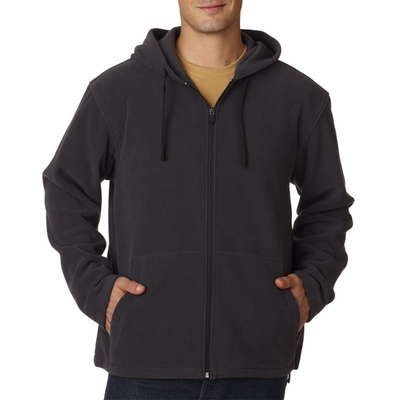 UltraClub Men's Sweatshirt: Microfleece Full Zip Hooded (8497)