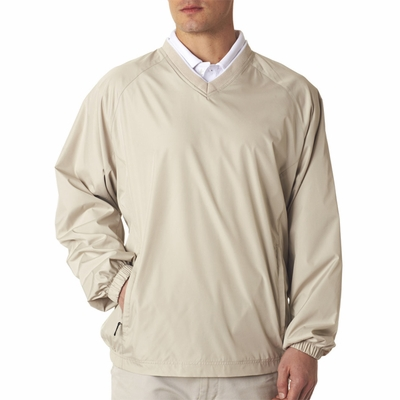 UltraClub Men's Windshirt: Micro-Poly V-Neck Pullover (8937)