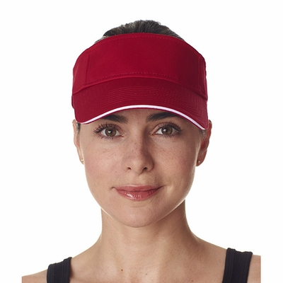 UltraClub Visor: 100% Cotton Classic Cut Brushed Twill Sandwich (8113)