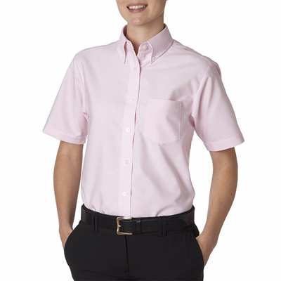UltraClub Women's Oxford Shirt: Classic Wrinkle-Free Short-Sleeve (8973)