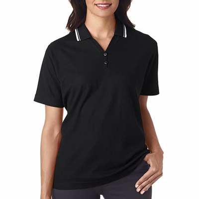 Ladies' Short-Sleeve Whisper Piqué Polo with Tipped Collar: (8546)