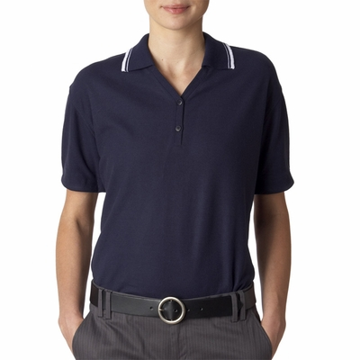 UltraClub Women's Polo Shirt: Short-Sleeve Whisper Pique with Rib Collar & Cuff Tipping (8546)