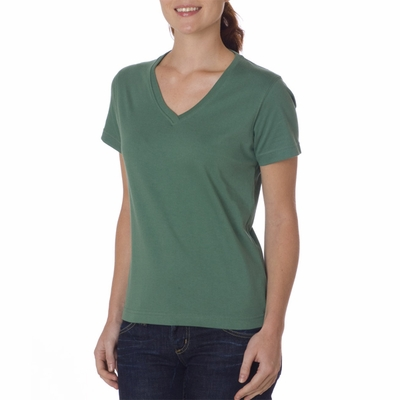 UltraClub Women's T-Shirt: 100% Organic Cotton Ring-Spun Short-Sleeve V-Neck (8600L)