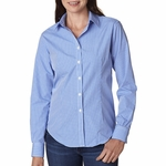 Ladies' Long-Sleeve Yarn-Dyed Gingham Check: (V0226)