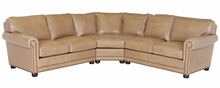 Aaron Traditional Leather Sectional With Nailhead Trim