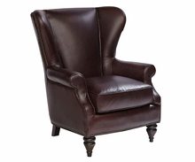 "Abel ""Quick Ship"" Leather Wingback Accent Chair"