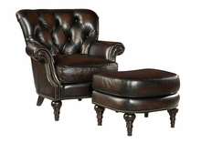 "Alessandro ""Quick Ship"" Tufted Leather Accent Chair"