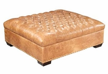 Anderson Large Deep Button Tufted Leather Cocktail Ottoman