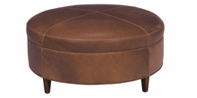 Andover Large Round Contemporary Leather Cocktail Ottoman