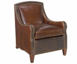 Wilbur Transitional Leather Club Accent Chair