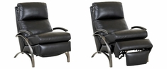 Anton Modern Leather Recliner With Brushed Platinum Arms And European Styling