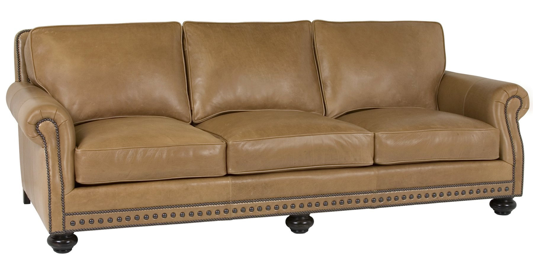 Leather Pillow Back Sofa With Rolled Arms And Nail Trim  : archie designer style traditional three leg leather sofa collection 1 from www.clubfurniture.com size 1800 x 900 jpeg 177kB