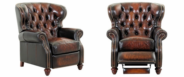 Chesterfield Leather Button Tufted Reclining Wingback Arm Chair – Leather Recliner Club Chairs
