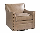 "Augustus ""Quick Ship"" Leather 360 Swivel Accent Chair With Nailhead Trim"
