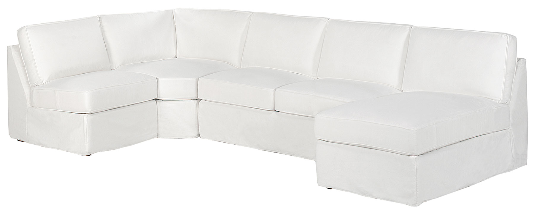 Ava Fabric Slipcovered Armless Contemporary Sectional Sofa. clubfurniture