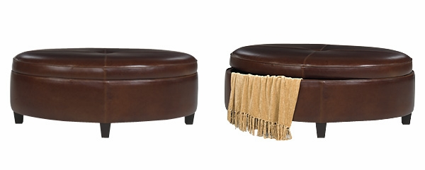 Oval Storage Ottoman In Leather Upholstery Club Furniture