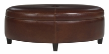 Avery Leather Upholstered Oversized Oval Storage Ottoman