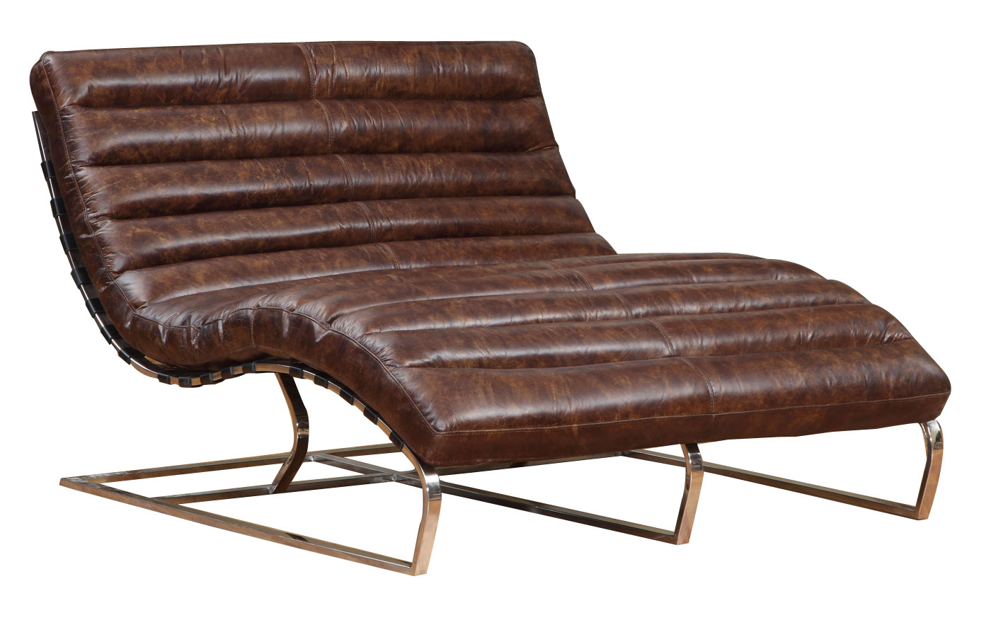 Axel Quot Ready To Ship Quot Leather Double Chaise Leather