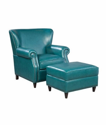 Aqua Leather Tight Back Accent Chair Club Furniture