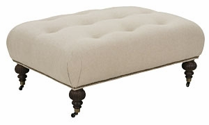 Belle Designer Style Fabric Tufted Coffee Table Ottoman With Casters