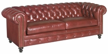 Benedict Chesterfield Style Leather Sofa