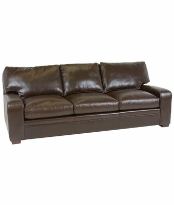 "Benjamin ""Designer Style"" Saddle Stitched Track Arm Leather Sofa"
