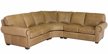 Benson Rolled Arm Leather Sectional With Nail Trim