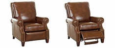 Bronson Traditional Pillow Back Leather Recliner w/ Nailhead Trim
