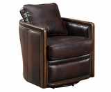 "Burnett ""Quick Ship"" 360 Degrees Swivel Leather Tub Chair"