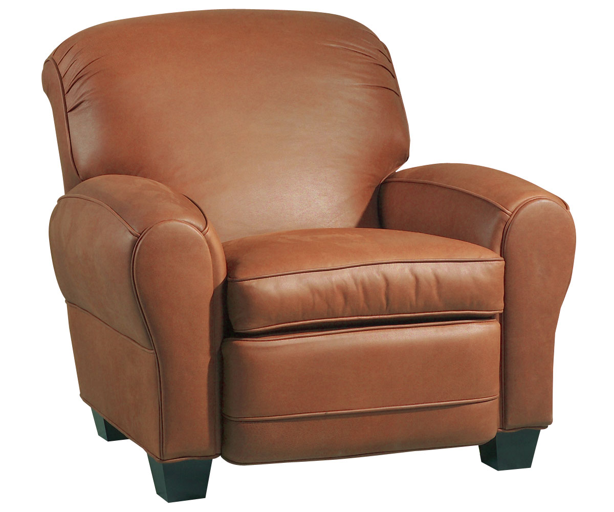 Classic Leather Roll Back Club Chair Recliner W Cigar Arms