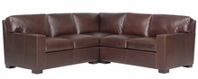 Caden Modern Track Arm Leather Sectional Couch